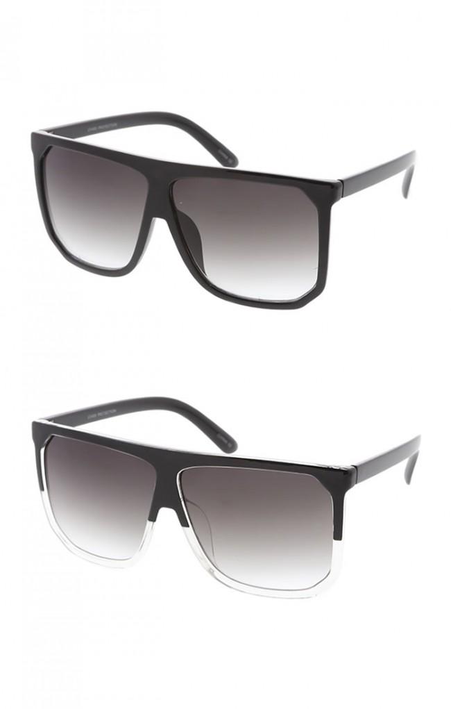ac6571ea9 Oversize Two Toned Frame Square Lens Flat Top Wholesale Sunglasses. Zoom