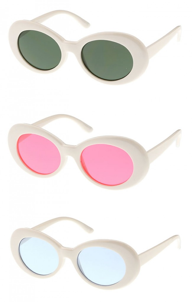 Large Retro Mod Thick White Frame Colored Lens Wide Arms Oval ...