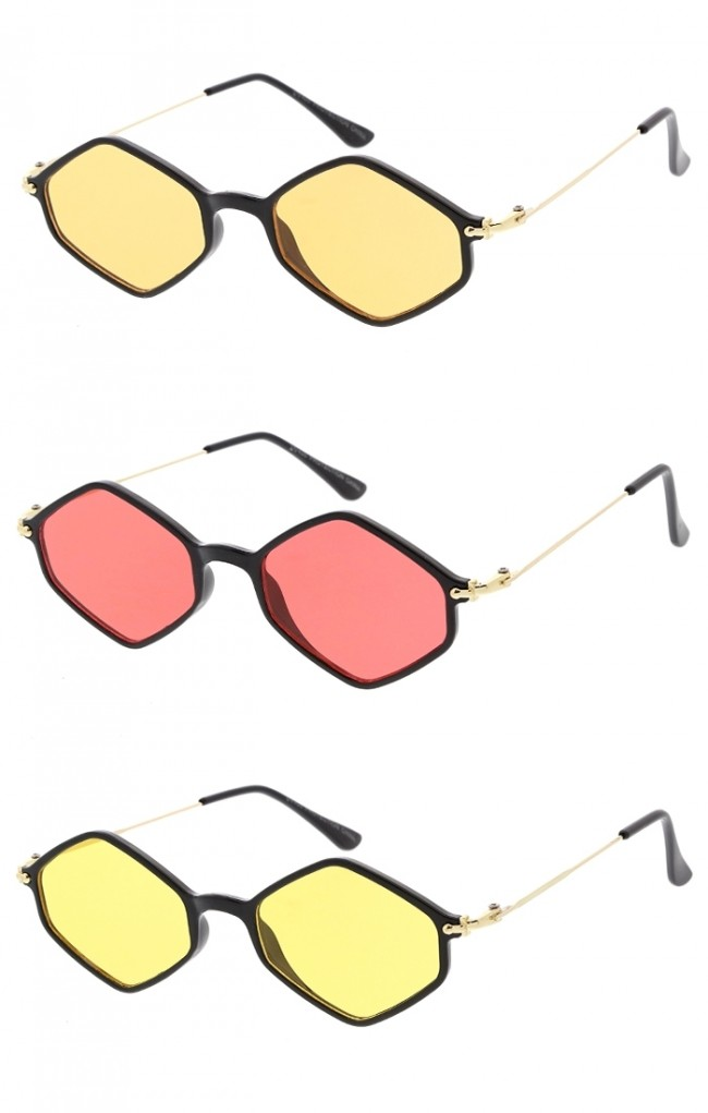 646b6d378 Thin Hexagon Wire Frame Colors Lens Wholesale Sunglasses. Zoom