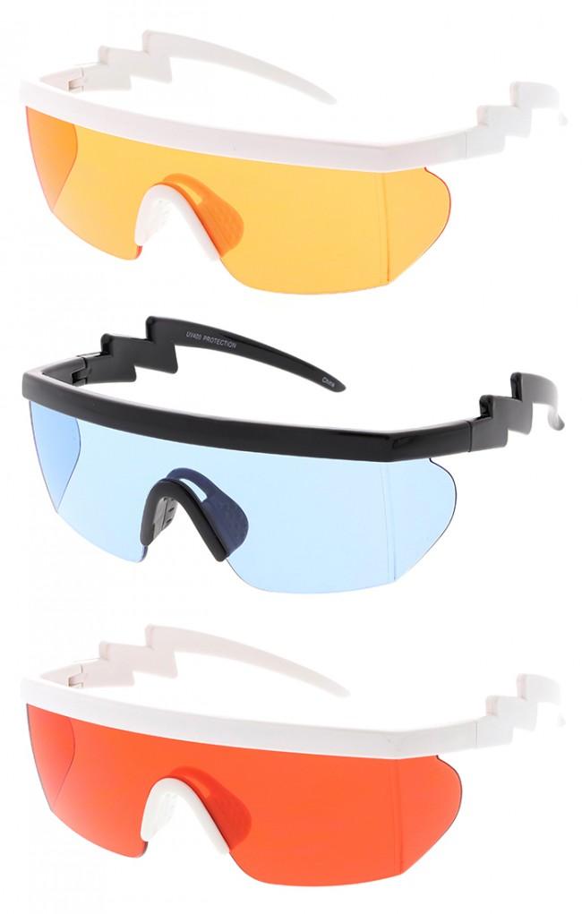 bc73fb8222 Oversized Mono Lens Block Wrap Around Arm Lightning Wholesale Sunglasses ·  Zoom
