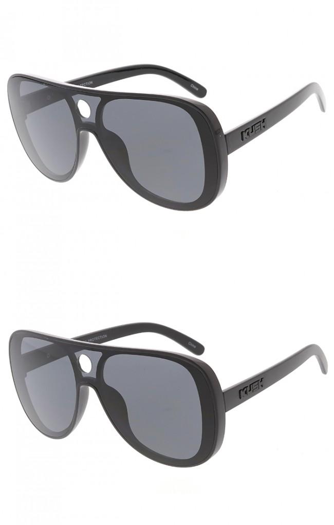 d96ca2465a KUSH Large Retro Aviator Shooter One Piece Lens Wholesale Sunglasses