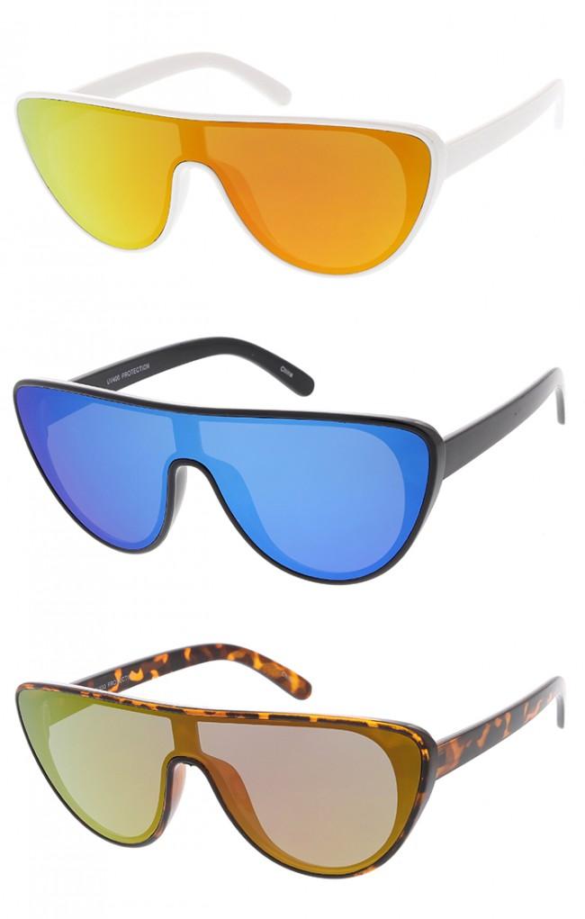 171362ed04 Retro Aviator Flat Top Mirrored Lens Cat Eye Wholesale Sunglasses. Zoom