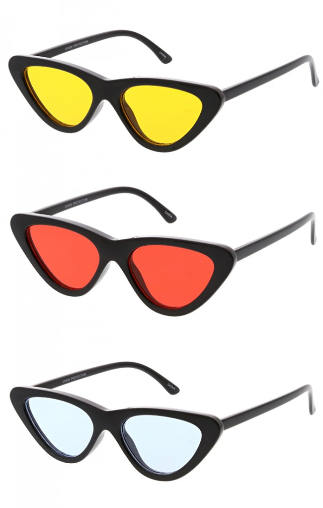 Womens Retro Cat Eye Color Lens Wholesale Sunglasses