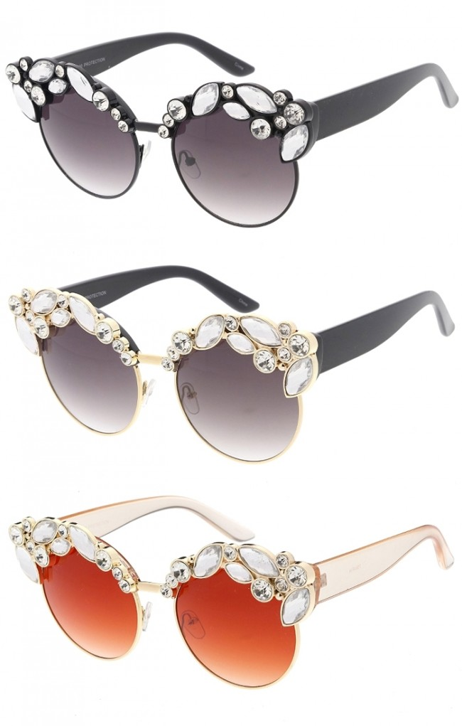 78f878d5f71 Women s Glam Fashion Rhinestone Studded Cat Eye Wholesale Sunglasses · Zoom