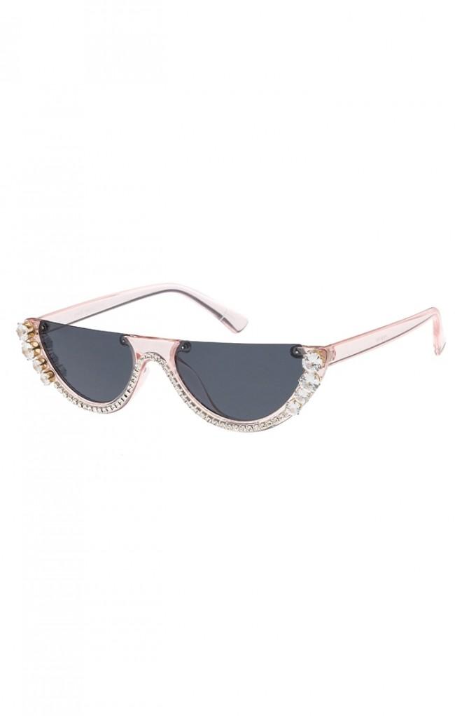 9db6525994e Women s Retro Rhinestone Half Frame Flat Cut Wholesale Sunglasses. Zoom