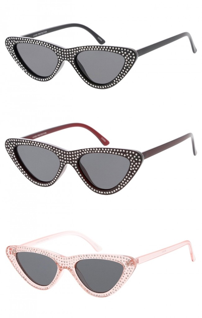 430758cb4a9 Women s Rhinestone Cat Eye Sunglasses Neutral Colored Lens Wholesale  Sunglasses. Zoom