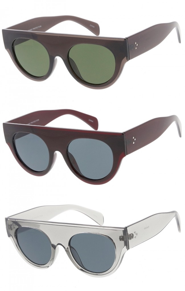 a528ad51d Womens Flat Top Semi Round Horn Rimmed Wholesale Sunglasses