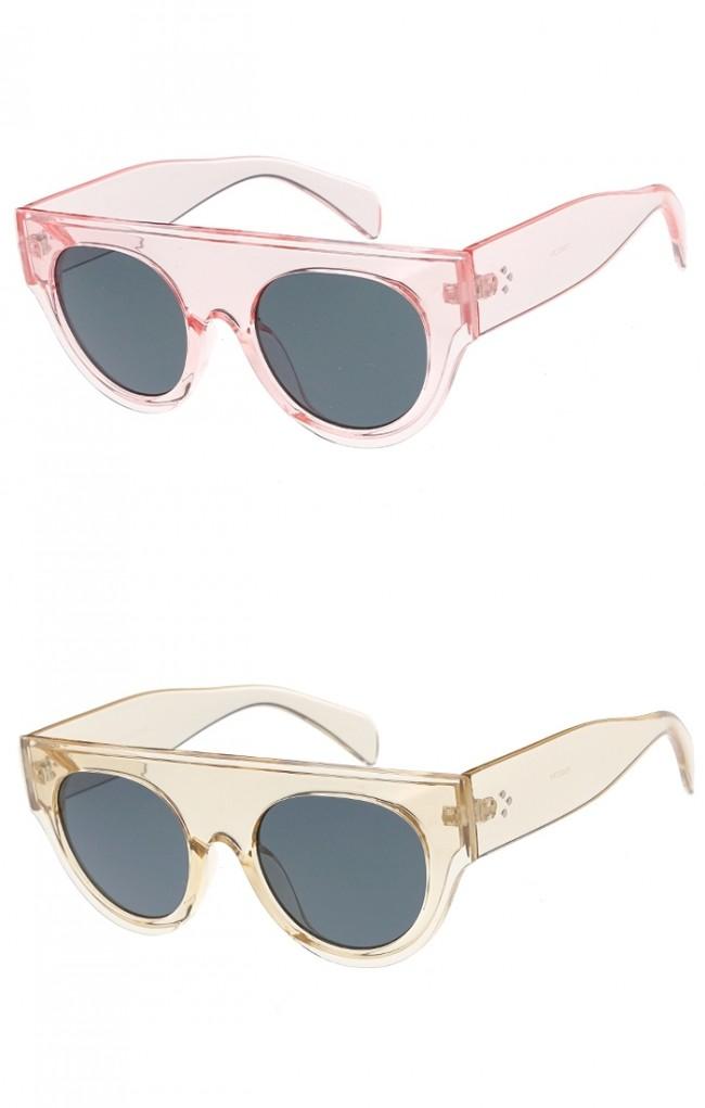 e24df7074e5 Womens Flat Top Semi Round Horn Rimmed Wholesale Sunglasses · Zoom