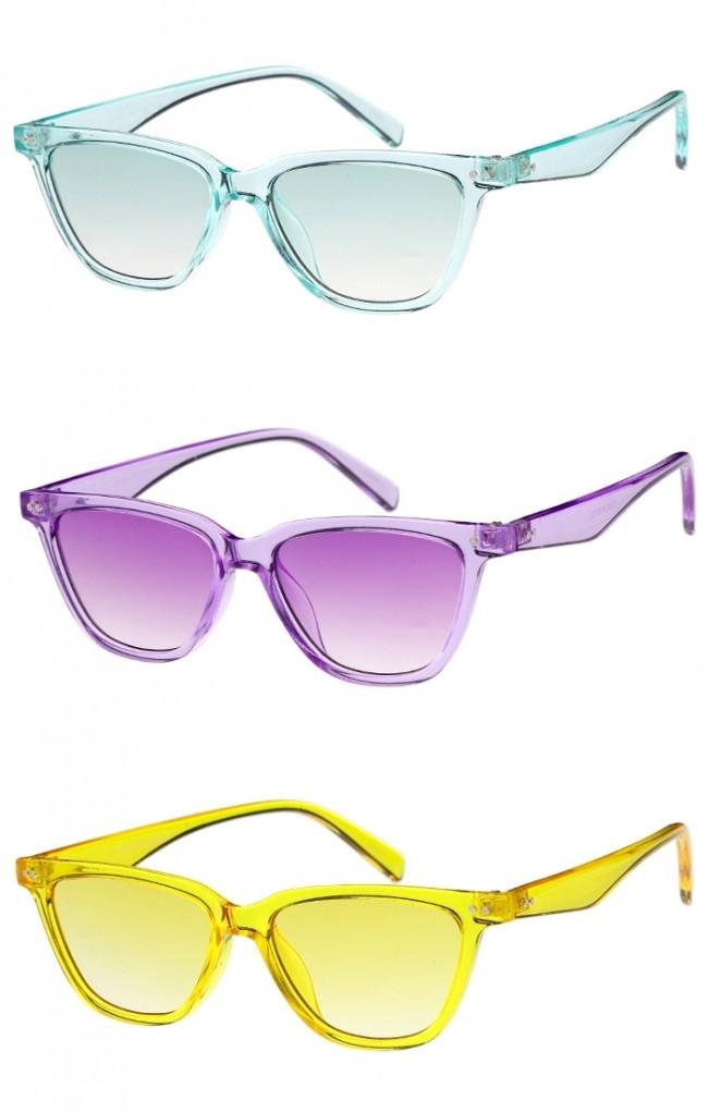 53c3ef5f69 Women s Horn Rimmed Cat Eye Color Tinted Flat Lens Wholesale Sunglasses.  Zoom