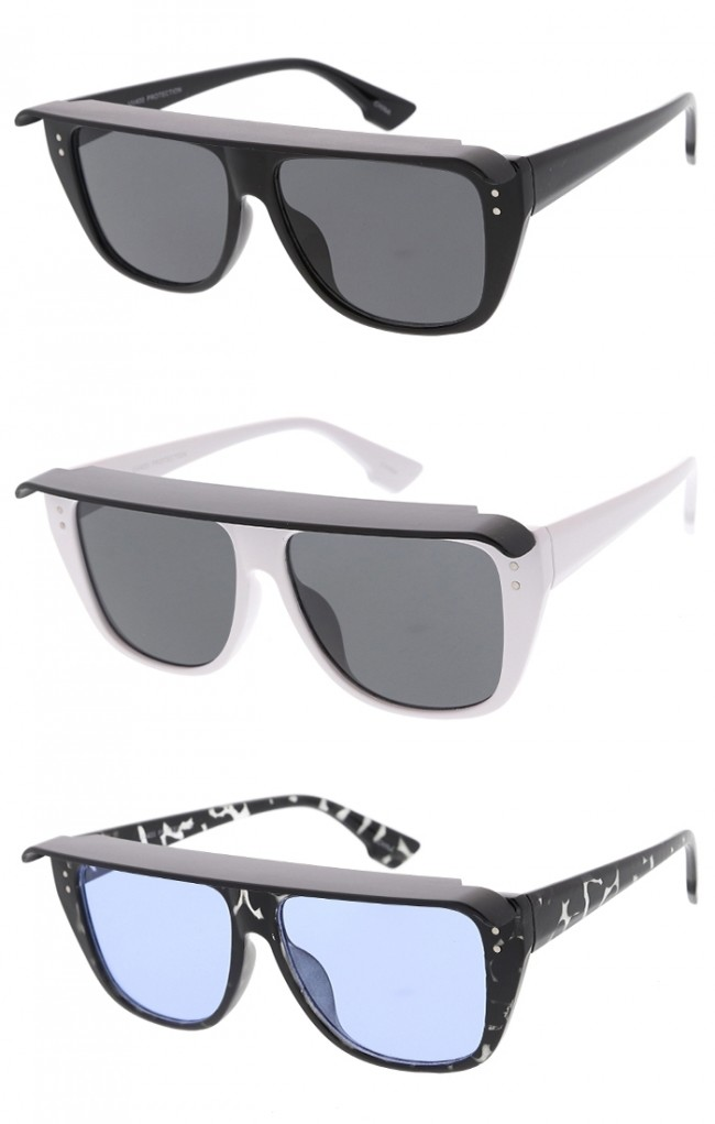 434775f14c Retro Small Visor Flat Top Frame Square Lens Wholesale Sunglasses · Zoom