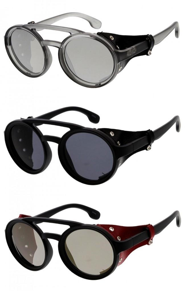 Steampunk Side Cover Sunglasses Round Metal Flat Top Bridge UV 400