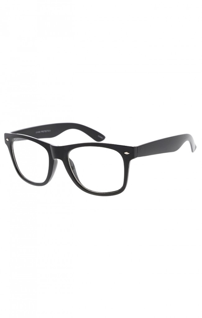 ab5c372f89 Classic Retro Nerdy Horned Rimmed Clear Lens Glasses. Zoom