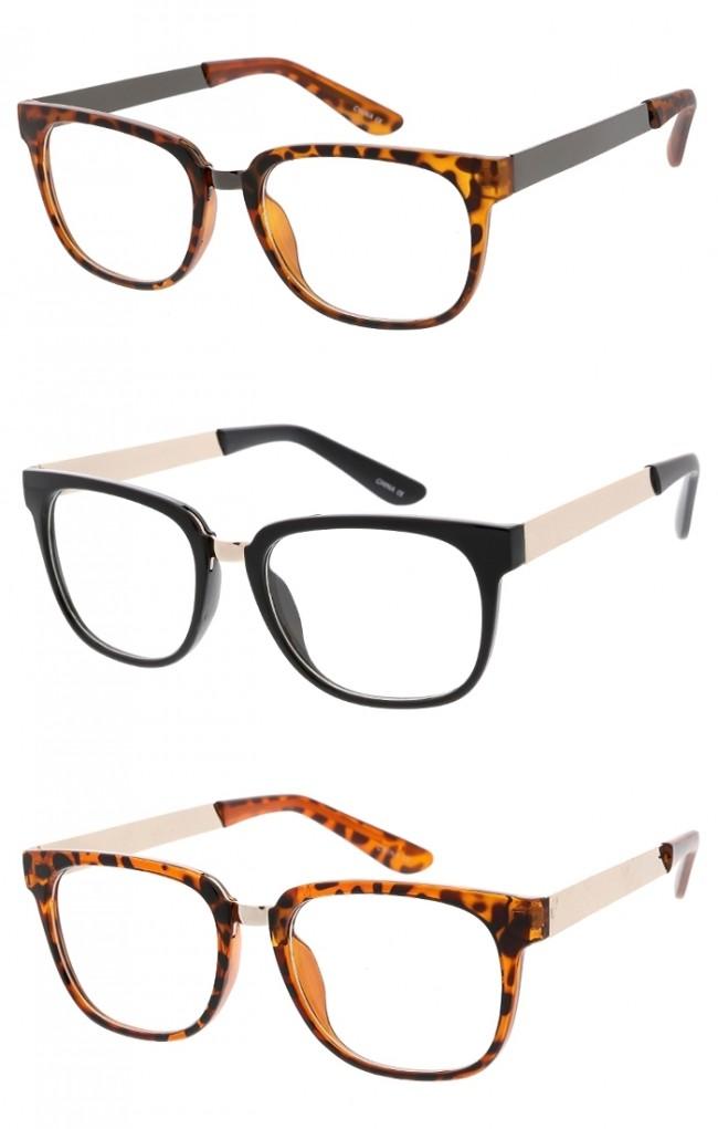 503d49e38aa Unisex Metal Bridge Horn Rimmed Square Clear Lens Wholesale Glasses · Zoom
