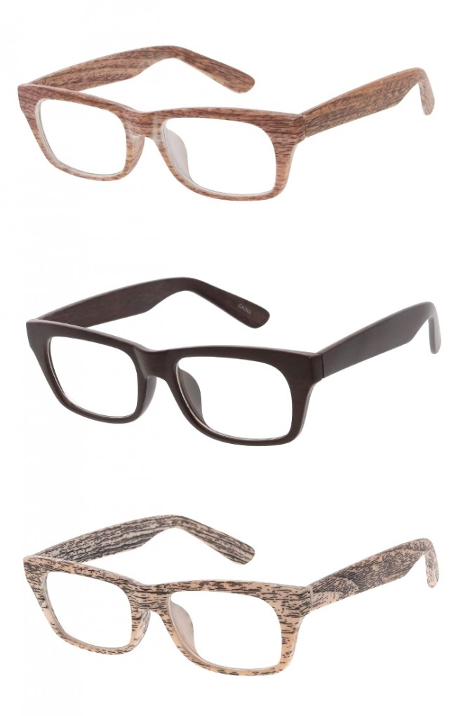 bb3b058015 Unisex Wood Printed Horn Rimmed Rectangle Clear Lens Wholesale Glasses ·  Zoom