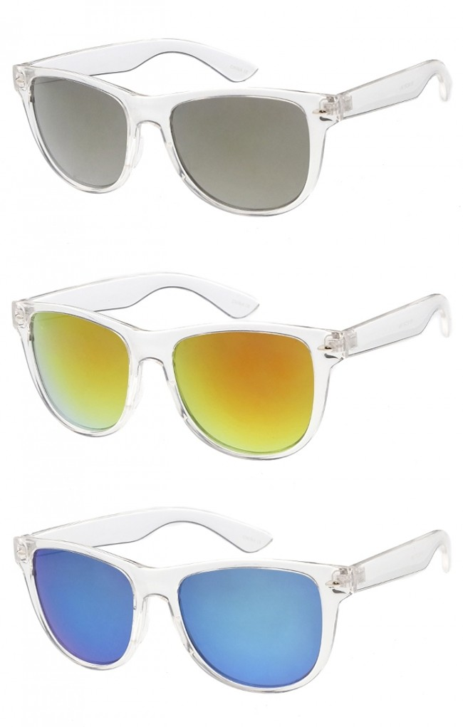 Clear Frame Horned Rimmed Sunglasses w/ Color Mirrored Lens