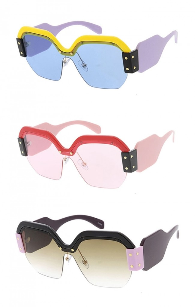 bd2d182f762 Oversized Fashion Chunky Half Frame Womens Wholesale Sunglasses · Zoom