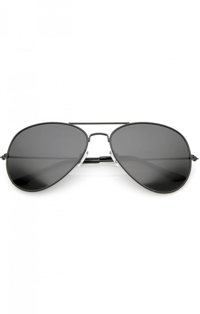 1b6995efd99 Large Classic Metal Frame Aviator Super Dark Lens Wholesale Sunglasses ·  Zoom