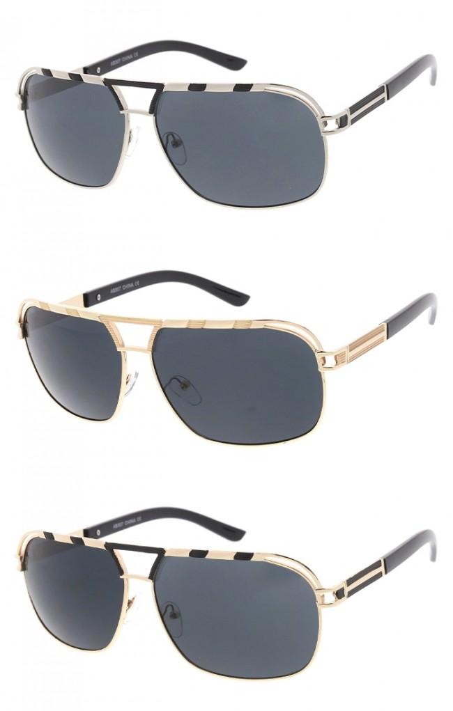 884b2bbab Unisex Metal Frame Flat Top Cutout Aviator Smoke Lens Wholesale Sunglasses.  Zoom