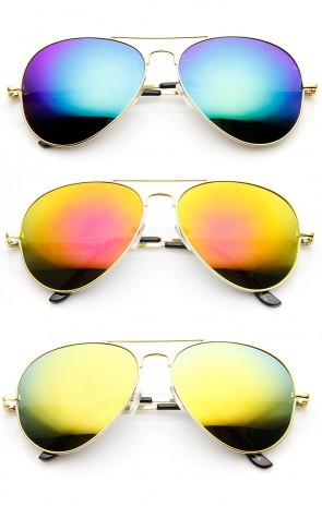 Classic Metal Teardrop Color Mirror Lens Aviator Sunglasses w/ Spring Hinges