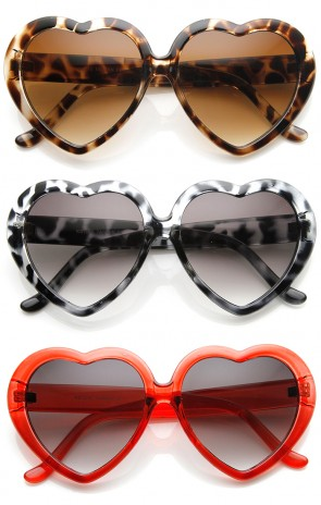Womens Oversized Translucent Color Heart Shape Sunglasses