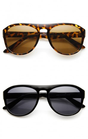 Classic Dapper Keyhole Flat Top Round Aviator Sunglasses