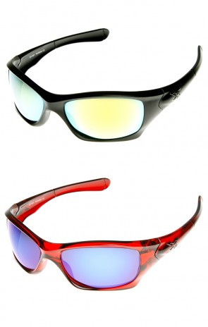 X Hunter Brand Flash Mirror Lens Sports Wrap Sunglasses