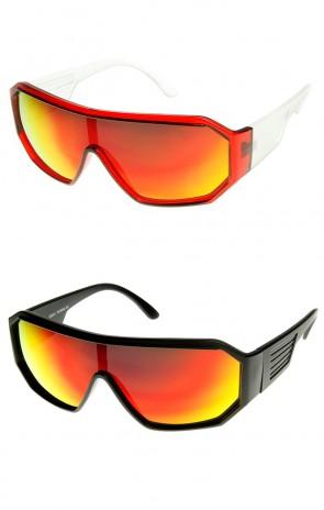 Action Sport Hexagon Flash Mirror Lens Shield Sunglasses