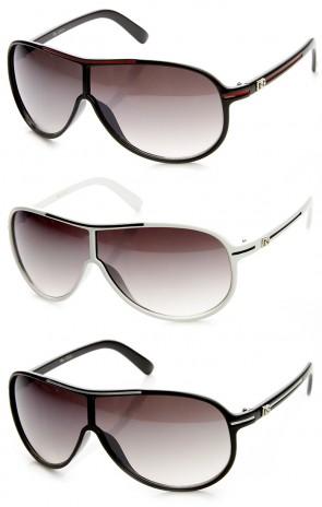 DG Eyewear Men's Collection Flat Top Aviator Shield Sunglasses