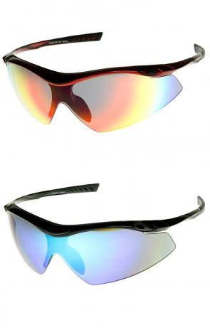 Large Semi-Rimless TR-90 Flash Mirror Lens Sports Shield Sunglasses