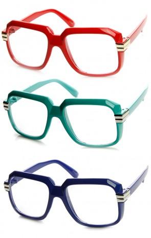 Colorful Square Frame Plastic RUN DMC Retro Hip-Hop Glasses