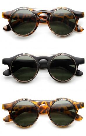 Steampunk Fashion Retro Keyhole Flip-Up Round Sunglasses