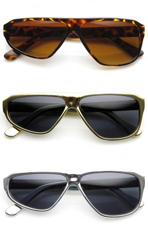 Half Wink Asymmetrical Flat Top Novelty Sunglasses