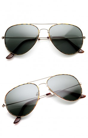 Original Teardrop Gold Tortoise Metal Aviator Sunglasses