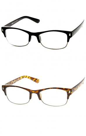 Casual Fashion Horned Rim Half Frame Rectangle Clear Lens Horn Rimmed Glasses