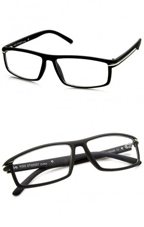 Modern Fashion Rectangular Soft Finish Clear Lens Glasses