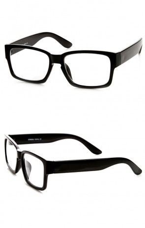 Retro Fashion Bold Thick Modified Rectangular Clear Lens Eyeglasses