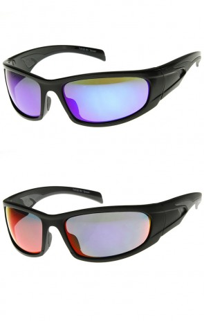 Shatterproof Modified Rectangle Mirror Lens TR-90 Sports Sunglasses