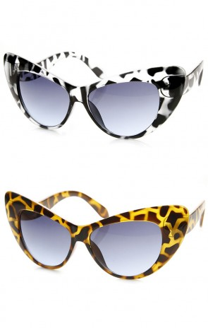 Extremely Oversized Bold Pointed Frame Cateye Sunglasses