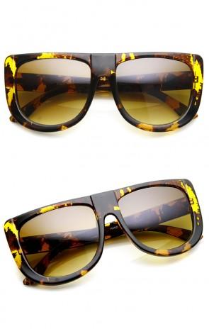 Large Oversized Bold Teardrop Flat Top Aviator Sunglasses