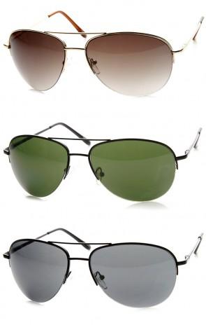 Classic Metal Semi-Rimless Spring Hinged Aviator Sunglasses