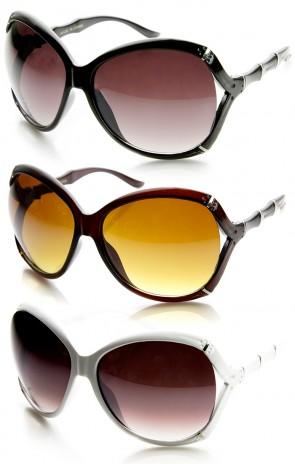 505f02f96dc Womens Fashion Bamboo Style Temple Oversized Sunglasses