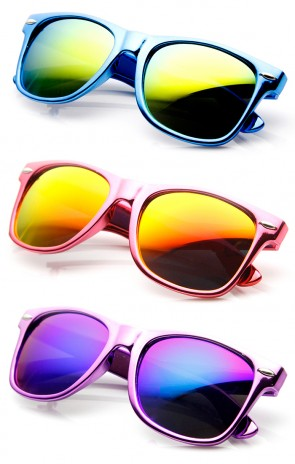 Chrome Reflective Coat Flash Mirror Lens Horn Rimmed Sunglasses