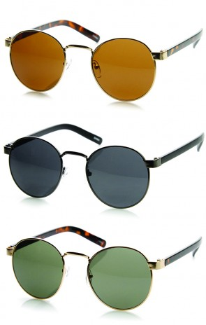 Classic Lennon Style Circular Metal Round Sunglasses