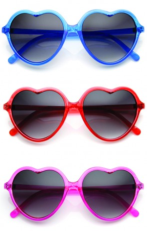 Lovely Heart Shaped Translucent Frame Womens Sunglasses