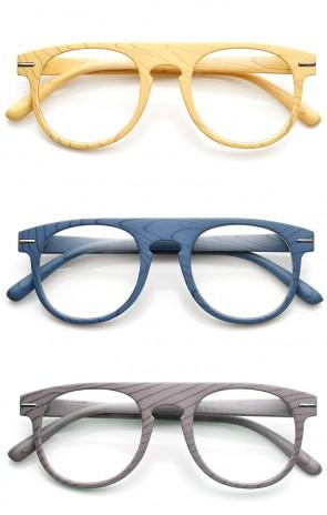 Wood Print Artistic Fashion Clear Lens P3 Round Glasses