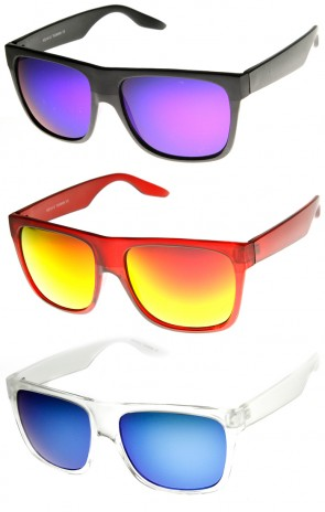 Action Sports Flash Mirror Lens Flat Top Horn Rimmed Sunglasses