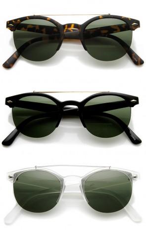 Double Bridge Half Frame Semi-Rimless Round Sunglasses