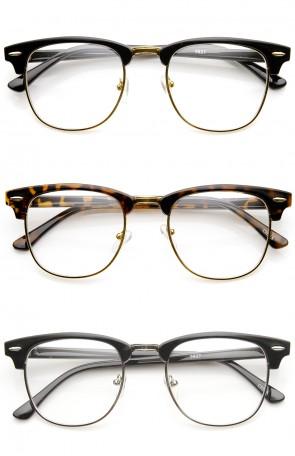 Classic Half Frame Semi-Rimless Clear Lens Horn Rimmed Eyeglasses