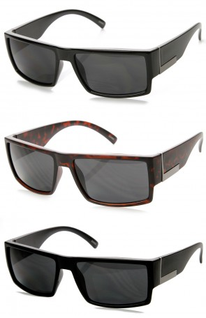 Mens Action Sports Basic Rectangular Frame Sunglasses