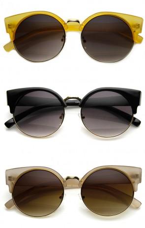 Chic Half Frame Semi-Rimless Round Cat Eye Sunglasses